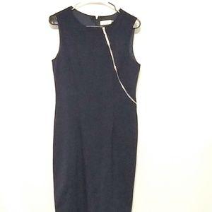 Calvin Klein sz 6 navy blue exposed zip around
